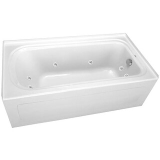 """ProFlo PFW6036ARSK 60"""" x 36"""" Alcove 8 Jet Whirlpool Bath Tub with Skirt, Right Hand Drain and Left Hand Pump"""