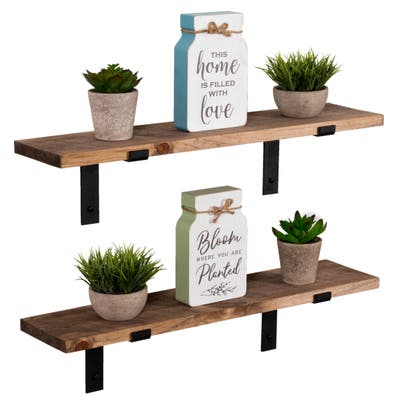 Handmade Rustic Wood Floating Shelves with L Brackets (Set of 2)