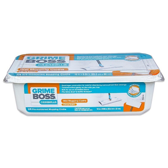 Grime Boss G207W24 Wet Mop Cloths, 10""