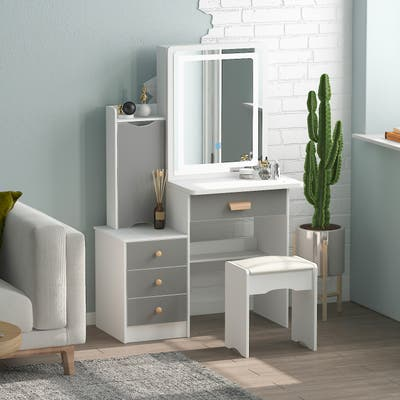 Makeup Vanity Set with Mirror and lights and stool