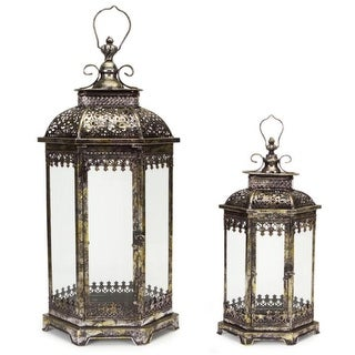 "Set of 2 Antique Style Pewter Gray Decorative Glass Pillar Candle Lanterns 34"" - N/A"