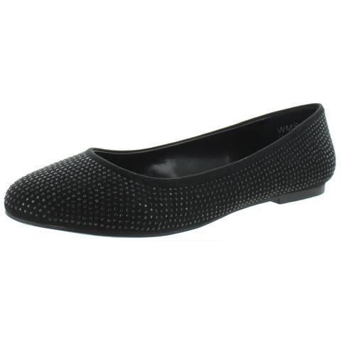 Report Womens Keela Ballet Flats Suede Slides - Black FX SDE - 8 Medium (B,M)