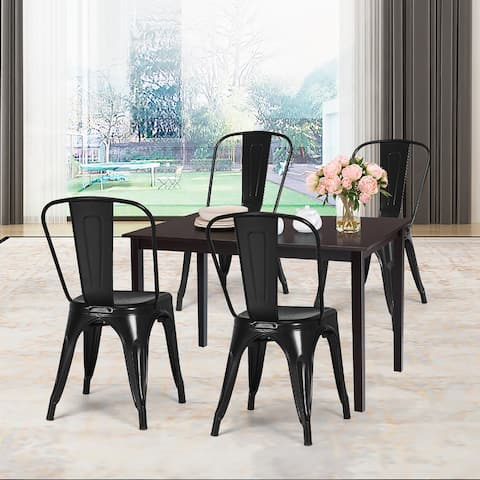 Metal Dining Chairs Stackable Side Chairs Set of 4