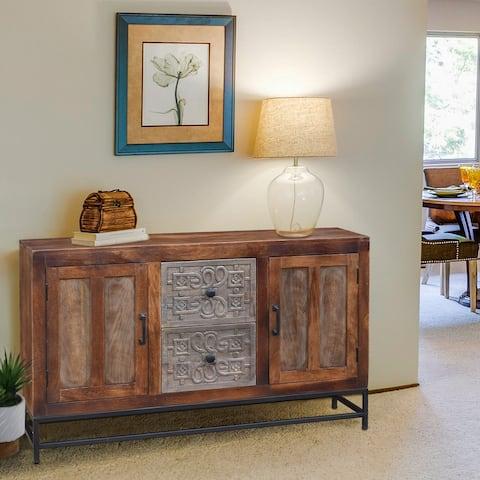 Balam Mango Wood Sideboard with 2 Doors and 2 Drawers