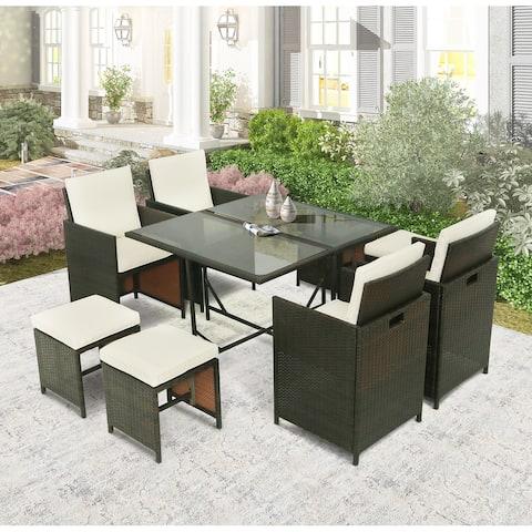 Outdoor Rattan Wicker Patio Dining Table Set (9-Piece)