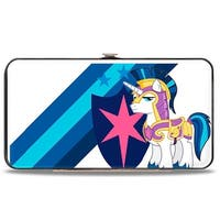 Shining Armor Pose Shield Stripes White Blues Hinged Wallet - One Size Fits most