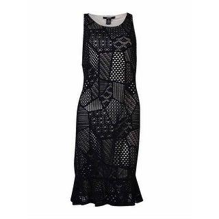 Alfani Women's Patchwork Lace-Overlay Dress (M, Deep Black) - Deep Black - M