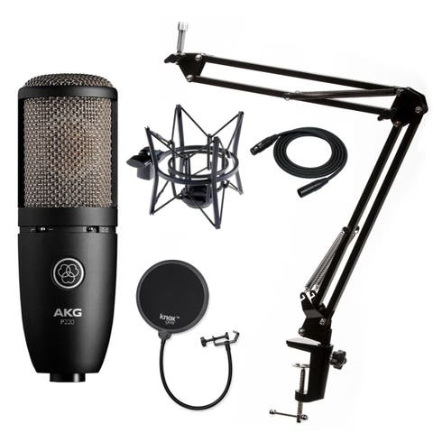 AKG P220 Condenser Microphone w/ Knox Gear Pop Filter & Boom Arm Stand
