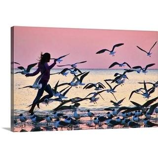 """Girl running on beach"" Canvas Wall Art"
