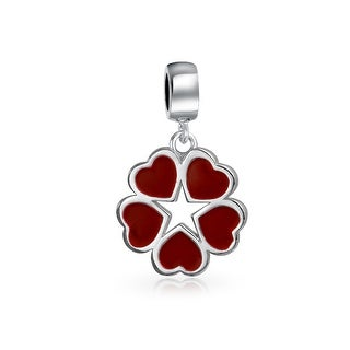 Bling Jewelry Sterling Silver Red Enamel Heart Star Flower Dangle Charm Bead