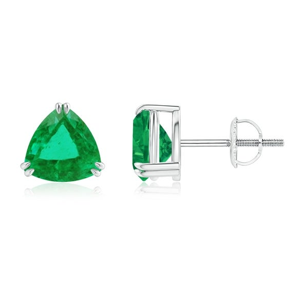 Angara 4mm Solitaire Trillion Cut Emerald Stud Earrings in 14K White Gold