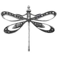 Antiqued Silver Plated Large Dragonfly Pendant 41.5x50mm (1 Piece)