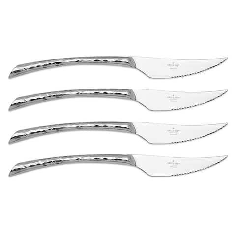 Argent Orfèvres Olivia Hammered - 4 Piece Steak Knife Set, Forged 18/10