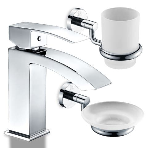 ANZZI Revere Bathroom Faucet in Polished Chrome with Soap Dish and Toothbrush Holder