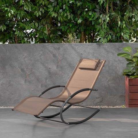 Patio Rocking Chair Curved Rocker Chaise Lounge Chair with Pillow