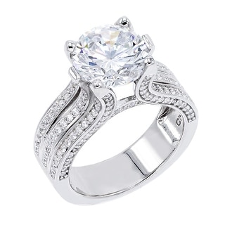 Link to 4.5 ct Round-Cut Cubic Zirconia Solitaire Ring, Sterling Silver Similar Items in Rings
