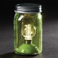 "6.5"" Battery Operated LED Edison Bulb Vintage-Style Green Glass Mason Jar Lantern"