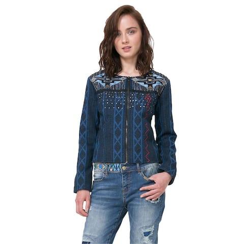Desigual Women's Embroidered Denim Chipre Jacket, Blue, Medium