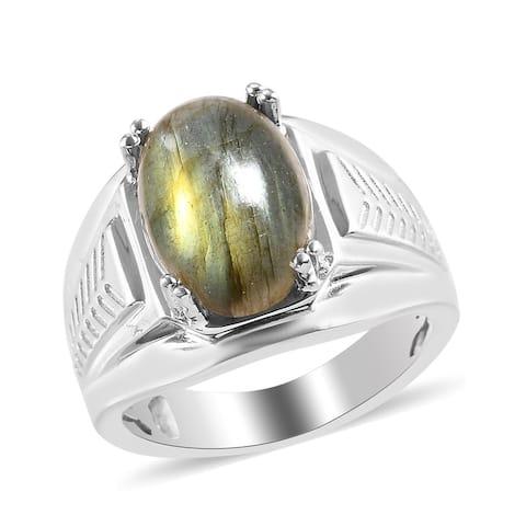 Shop LC Platinum Labradorite Ring Jewelry Gift Men Ct 6.6