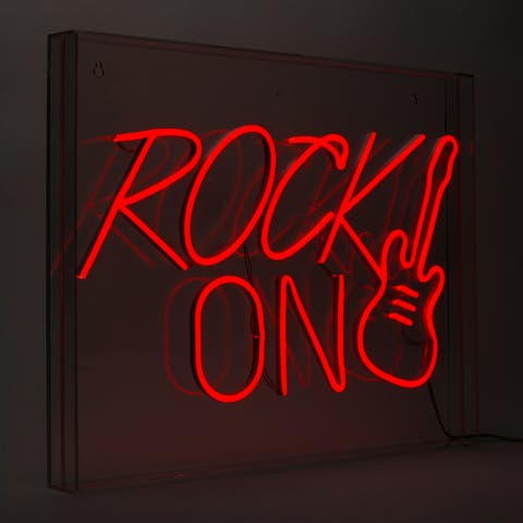 American Art Decor Neon LED Lights, Acrylic Box Sign - Rock On Guitar