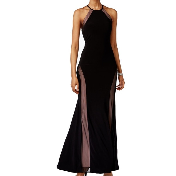bb8f4955c80ff Nightway NEW Black Nude Womens Size 10 Illusion Open-Back Maxi Dress