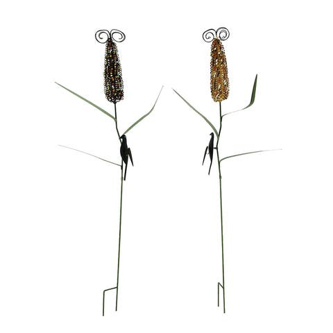 Colorful Metal Corn Cob Stalks Garden Stake Set of 2 - 41.5 X 6.5 X 3 inches