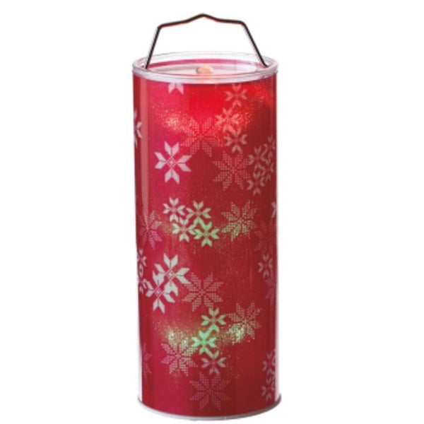"""12"""" Battery Operated Transparent Red Snowflake LED Color Changing Lighted Hanging Christmas Lantern"""