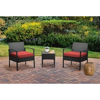 Link to Grearden 3 Piece Outdoor Patio Wicker Bistro Chat Set with Cushions Similar Items in Patio Furniture