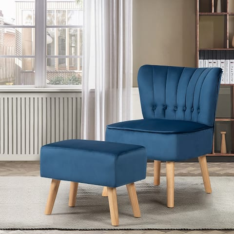 Costway Leisure Chair and Ottoman Thick Padded Button Tufted Sofa Set