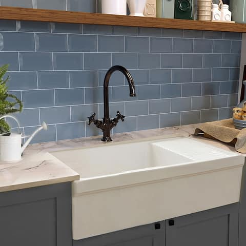 """Highpoint Collection Fireclay Farmsink with Built In Drainboard - 36"""" x 20"""" x 10"""""""