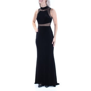 Womens Black Sleeveless Full Length Sheath Formal Dress Size: 6