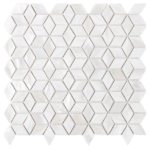 """TileGen. Mother of Pearl 1"""" x 1.75"""" Seashell Tile in White Wall Tile (10 sheets/9.8sqft.)"""