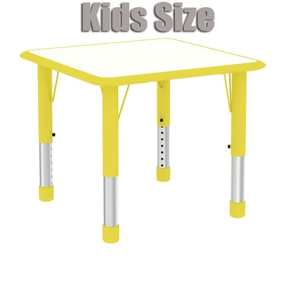 Elegant 2xhome   Yellow   Modern Kids Table   Height Adjustable Square Childs  Laminate Top Table Bright