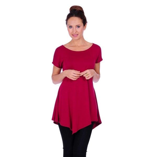 Simply Ravishing Women's Assymetrical Front/Back Handkerchief Hem Sleeveless Tunic Top