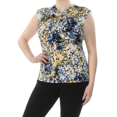 TAHARI Womens Yellow Floral Sleeveless Keyhole Wear To Work Top Plus Size: 3X