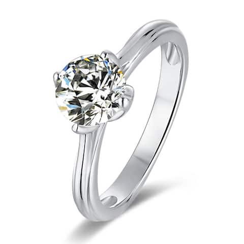Silver 1 CT Round Moissanite Six Prong Solitaire Engagement Ring (Size 7)