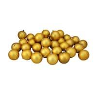 "32ct Vegas Gold Shatterproof Matte Christmas Ball Ornaments 3.25"" (80mm)"
