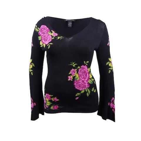 INC International Concepts Women's Plus Size Jacquard Sweater - Deep Black