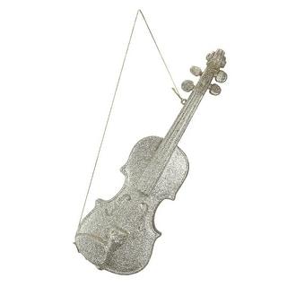 """15.5"""" White Champagne Glittered Violin Christmas Ornament"""