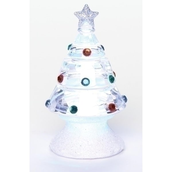 "Club Pack of 24 LED Multi-Dot Christmas Tree Table Top Figurines 3.5"" - CLEAR"