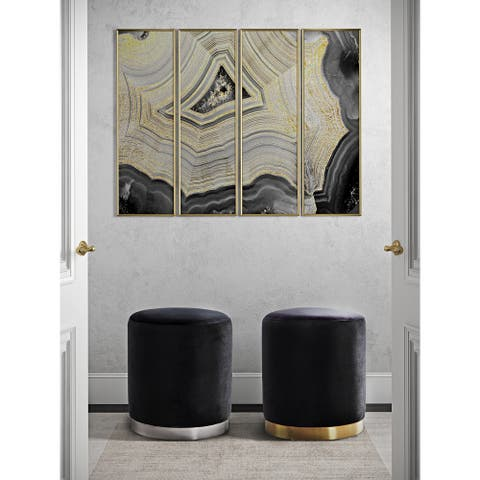 Opal Black Velvet Ottoman with a Silvertone Stainless Steel Base