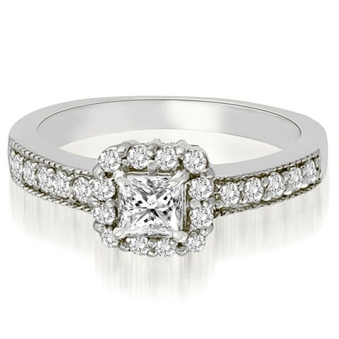 0.84 CT.TW Halo Princess And Round Diamond Engagement Ring - White H-I