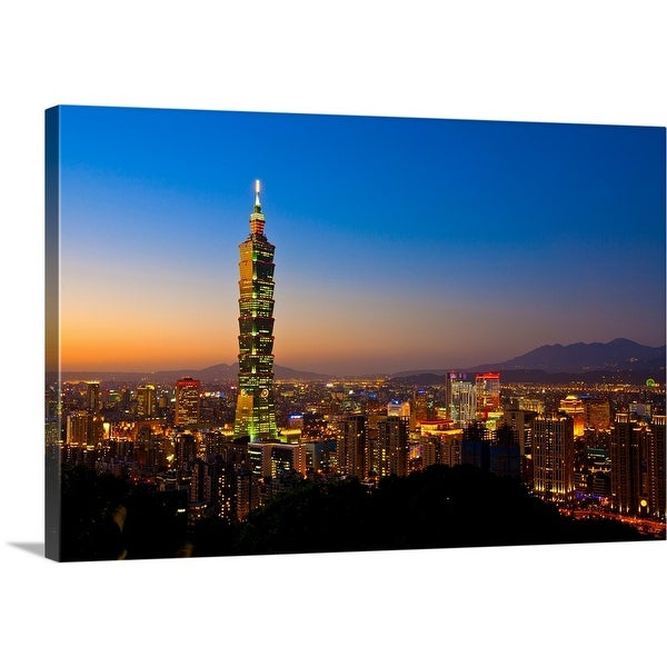 Shop Taipei 101 Skyscraper With Sunset Taipei Basin