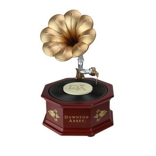 """8.75"""" Brown and Gold Colored Downton Abbey Animated Musical Vintage Phonograph Tabletop Decoration - N/A"""