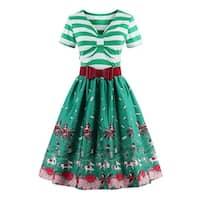 ZAFUL Fashion printing dress women retro style v-neck short sleeve pleated dress elegant big swing dress GREEN S