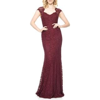 Tadashi Shoji Cap Sleeve Lace Open Back Evening Gown Dress - 6