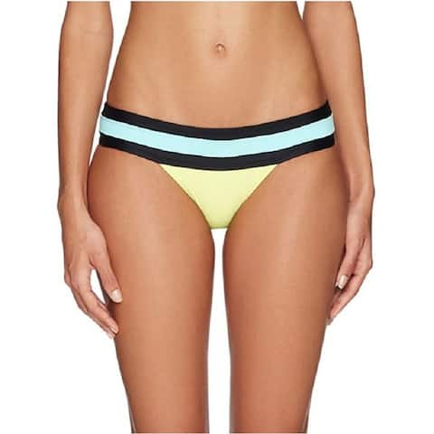 PilyQ Women's Yellow Multi Color Block Banded Full Bikini Bottom