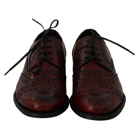 Dolce & Gabbana Red Bordeaux Leather Wingtip Oxford Men's Shoes