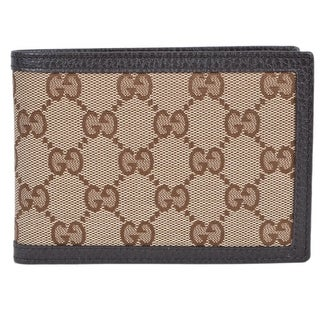 Gucci Men's 292534 Beige Canvas GG Guccissima W/Coin Large Bifold Wallet - 5.25 x 3.75 inches