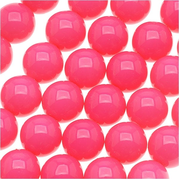 Czech Glass Round Party Beads 6mm - Neon Pink (1 Strand / 29 Beads)